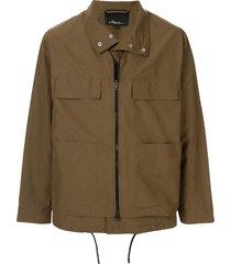 3.1 phillip lim layered zip-up jacket - brown