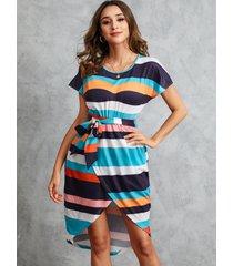 yoins rayas multicolor cinturón diseño mangas cortas vestido