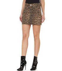 numero leopard-print frayed-hem denim mini skirt