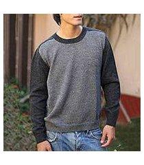 100% alpaca men's sweater, 'inca legend' (peru)