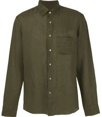 peninsula swimwear single-pocket linen shirt - green