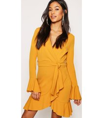 frill sleeve tie waist ruffle hem tea dress, mustard