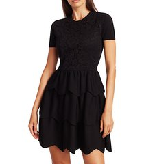 lace tiered short-sleeve wool dress