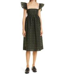 baum und pferdgarten ashaki embroidered babydoll dress, size 2 us in black star at nordstrom