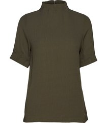top w. pleated high neck blouses short-sleeved grön coster copenhagen