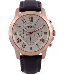 reloj café-oro rosa fossil