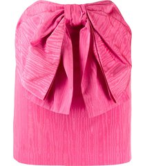 msgm oversized bow straight skirt - pink