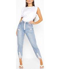 gescheurde jeans met rechte pijpen en zoom, middenblauw