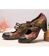 socofy retro tie-dye modello cinturino con fibbia in metallo a doppia caviglia con cuciture gancio décolleté con tacco g
