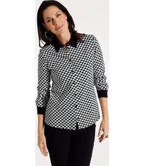 jersey blouse mona wit::zwart