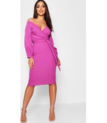 off the shoulder wrap midi dress, jewel purple