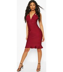 midi-jurk met peplum-zoom met bandjesdetail en contourbandage, magenta