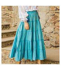cotton skirt, 'sky blue frills' (india)