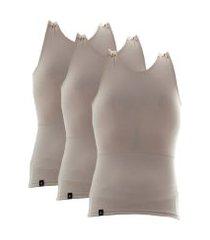 kit com 03 cintas modeladora e postural alta compressáo bodyshaper - slim fitness bege