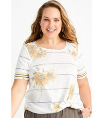 maurices plus size womens 24/7 sunflower striped sleeve knot hem tee white
