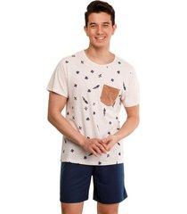 pijama masculino manga curta com bolso luna cuore premium