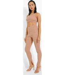 geribbelde premium leggings met split, brown
