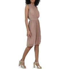 women's molly bracken metallic micropleat dress, size small - pink