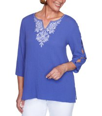 alfred dunner costa rica embroidered bubble top