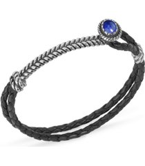 american west by carolyn pollack sterling silver gemstone silver hook and loop black leather bracelet in malachite, lapis or turquoise