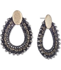 lonna & lilly gold-tone crystal & bead thread-wrapped open drop earrings