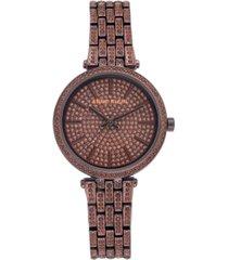 anne klein women's brown-tone crystal pave bracelet watch 32mm