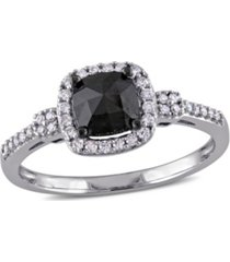 black and white diamond (1 ct. t.w.) engagement ring in 14k white gold