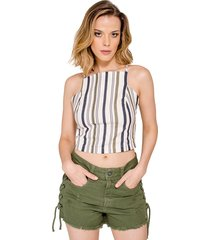 top cropped handbook listrado off white