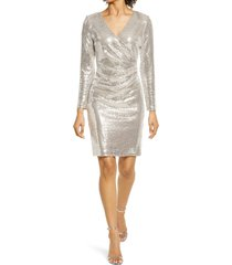 eliza j sequin long sleeve sheath cocktail dress, size 18 in cream/silver at nordstrom