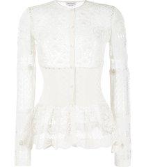 alexander mcqueen patchwork lace peplum cardigan - white
