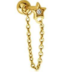 bodifine single cubic zirconia star 10k gold-tone sterling silver-tone ear chain stud
