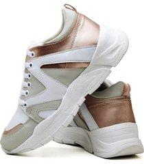 tênis sapatênis plataforma fashion metalizado dubuy 737el