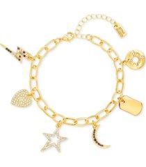 steve madden gold-tone multicolor crystal charm bracelet