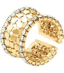 anello a fascia con strass in metallo dorato per donna