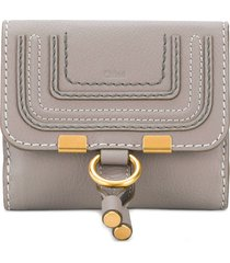 chloé marcie flap-over wallet - grey