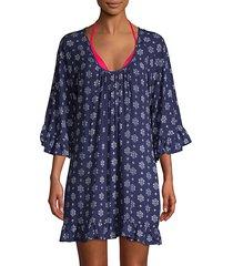 printed ruffled-trim coverup dress