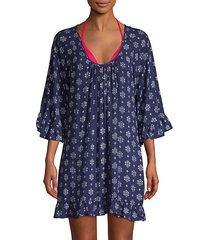 printed ruffled-trim coverup dress