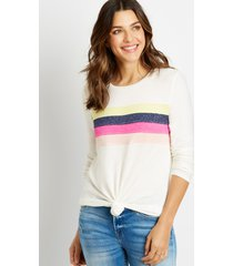 maurices womens 24/7 pieced stripe cozy baseball tee white