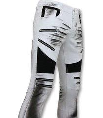 true rise fit damaged biker jeans slim fit broek