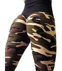 legging deportivo con cintura elástica de camuflaje