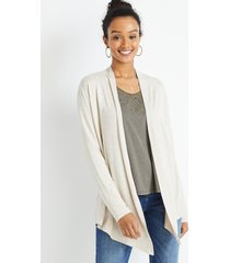 maurices womens oatmeal heather long sleeve open front cardigan beige