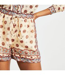 river island womens cream drawstring chiffon shorts