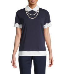 karl lagerfeld paris women's lace-trim & faux pearl collared top - marine - size s