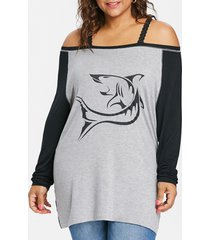 plus size shark print batwing sleeve t-shirt