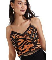 top de seda cropped estampado com renda est tigre textura bege/preto