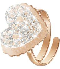 anello cuore in ottone rosato e glitter per donna