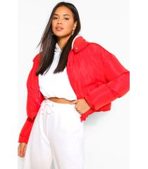 funnel neck wrap puffer jacket, red