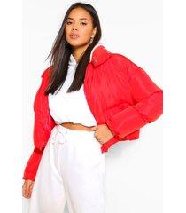 gewatteerde wikkel jas met hoge kraag, rood