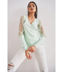dobby mesh wrap top, mint
