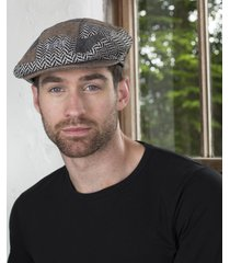 mens tweed patchwork cap large